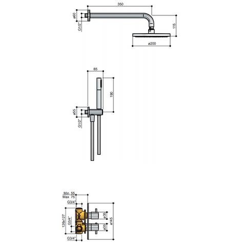 Hotbath IBS 2RA Get Together inbouw doucheset Laddy rond - chroom - met ronde 3 standen handdouche - 20cm hoofddouche - met plafondbuis 15cm - met glijstang