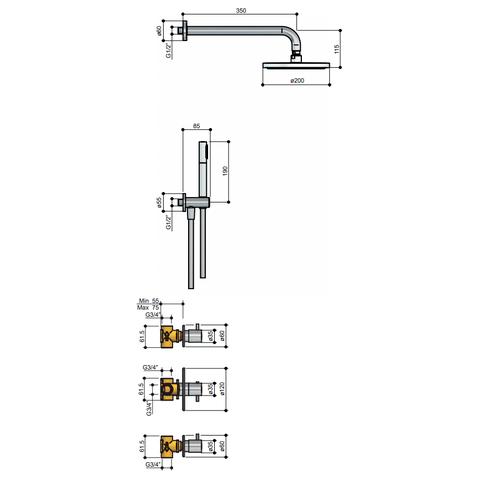 Hotbath IBS 2R Get Together inbouw doucheset Laddy rond - chroom - met ronde 3 standen handdouche - 20cm hoofddouche - met plafondbuis 30cm - met glijstang