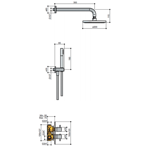 Hotbath IBS 2A Get Together inbouw doucheset Laddy vierkant - chroom - met ronde 3 standen handdouche - 20cm hoofddouche - met plafondbuis 15cm - met glijstang