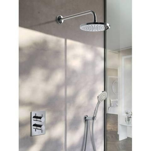 Hotbath IBS 2A Get Together inbouw doucheset Laddy vierkant - chroom - met ronde 3 standen handdouche - 25cm hoofddouche - met plafondbuis 30cm - zonder glijstang