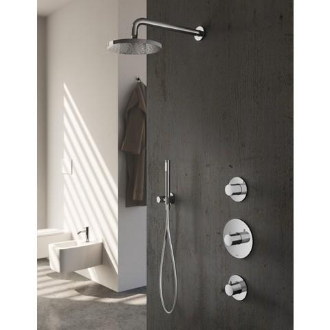 Hotbath IBS 1 Get Together inbouw doucheset Buddy - geborsteld nikkel - met ronde 3 standen handdouche - 30cm hoofddouche - met plafondbuis 15cm - zonder glijstang