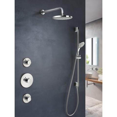 Hotbath IBS 1 Get Together inbouw doucheset Buddy - geborsteld nikkel - met ronde 3 standen handdouche - 30cm hoofddouche - met plafondbuis 30cm - zonder glijstang