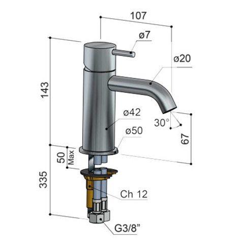 Hotbath Cobber CB003C wastafelkraan verouderd ijzer