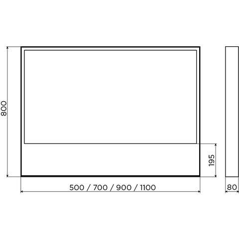 Clou Look at Me spiegel, met 2700K LED-verlichting, met een omlijsting in mat wit.  90x8x80 (bxdxh)