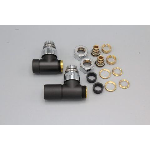 """Instamat Cylinder aansluitset 1/2"""" - haaks - mat zwart"""