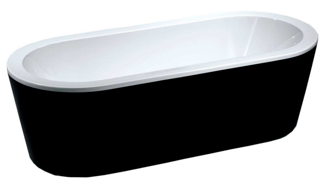 Wiesbaden Nero vrijstaand bad 178x80cm ovaal wit met zwart badpaneel