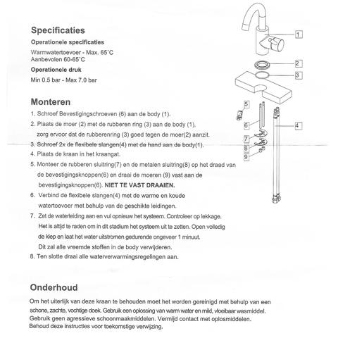 Wiesbaden Caral wastafelkraan draaibare hoge uitloop mat-zwart
