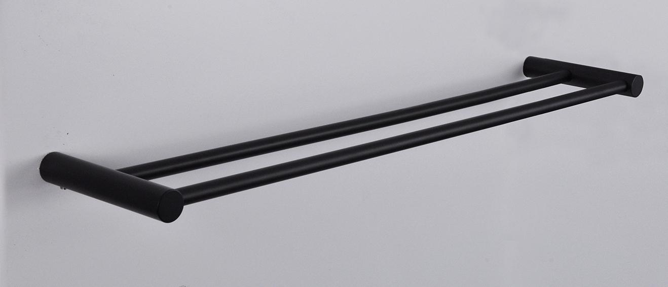 Wiesbaden Ida handdoekrek 60cm dubbel mat-zwart