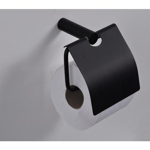 Wiesbaden Ida toiletrolhouder met klep mat-zwart