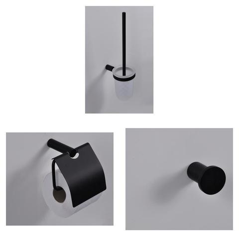 Wiesbaden Ida toilet accessoires set mat zwart