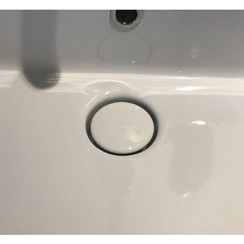Globo T-Edge afvoerplug klik open/dicht in keramiek t.b.v. wastafels met overloop wit