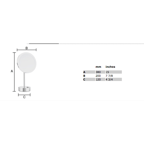 Smedbo Outline FK484E LED make-up spiegel vrijstaand chroom