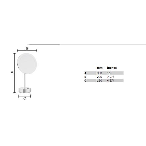 Smedbo Outline FK484EW LED make-up spiegel vrijstaand wit
