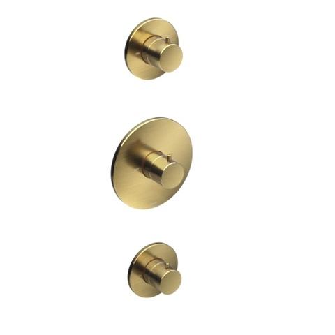 Hotbath Cobber CB007 Inbouwthermostaat met 2 stopkranen geborsteld messing