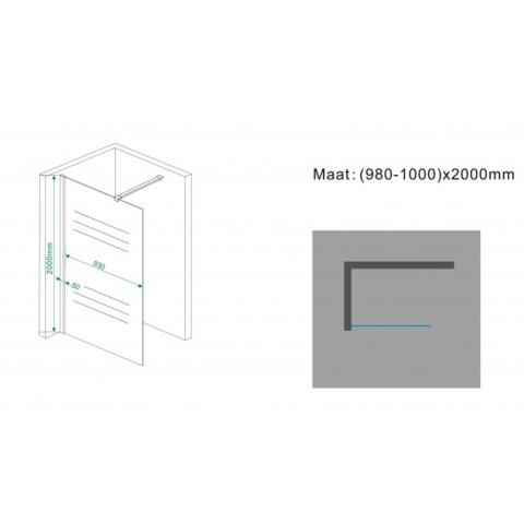 Wiesbaden Frosted inloopdouche 100cm met draaibare zijwand matglas - rechts