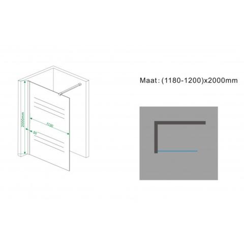 Wiesbaden Frosted inloopdouche 120cm met draaibare zijwand matglas - rechts