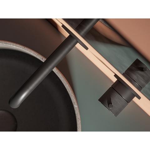 Hotbath Cobber X CX005-25 inbouw wastafelkraan met 25cm uitloop mat zwart