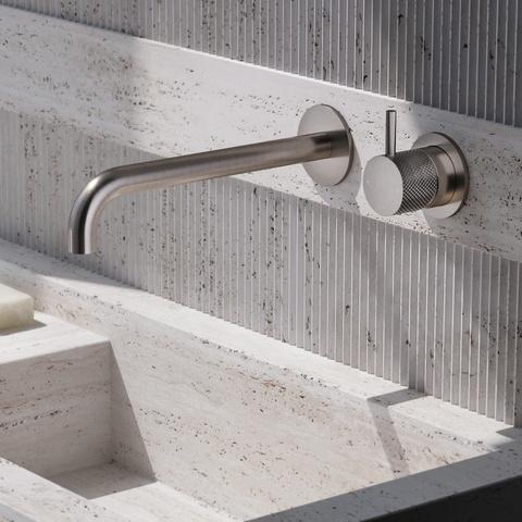 Hotbath Cobber X CX00525 inbouw wastafelkraan met 25cm uitloop geborsteld nikkel