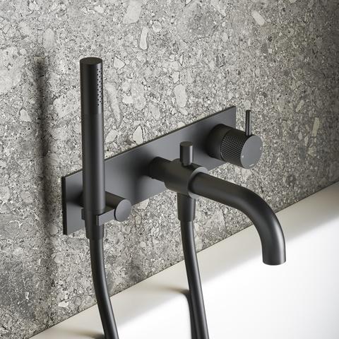 Hotbath Cobber X CX026 inbouw badkraan, automatische omstelinrichting mat zwart