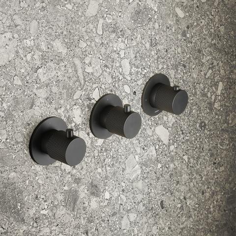 Hotbath Cobber X CX7067 inbouw douchethermostaat met 2 stopkranen horizontaal/verticaal mat zwart