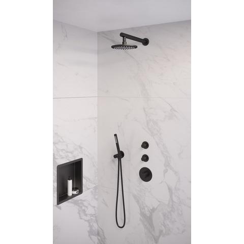 Brauer Black Edition inbouw thermostaat met 2 stopkranen met inbouwdeel - verticale plaatsing - mat zwart