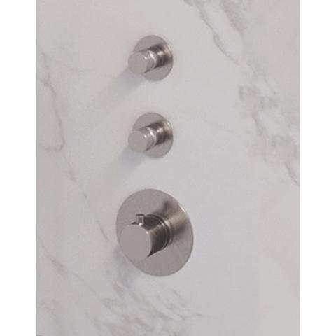 Brauer Brushed Edition inbouw thermostaat met 2 stopkranen met inbouwdeel - verticale plaatsing - geborsteld nikkel PVD