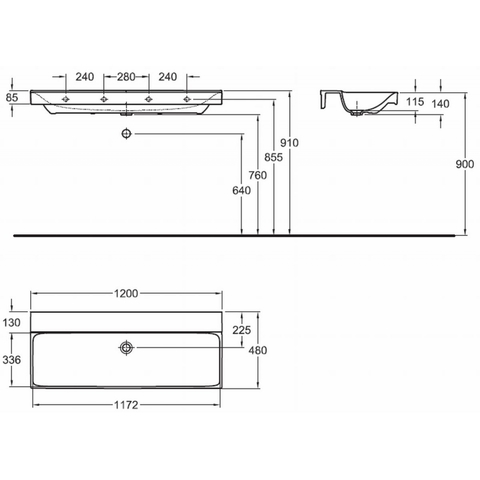 Geberit Xeno2 wastafel 120cm zonder kraangat zonder overloop wit