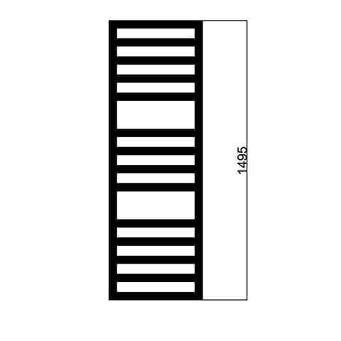 Das Radiatoren Square Space radiator 1500h x400br 582watt 75/65/20 ral 9010 - wit
