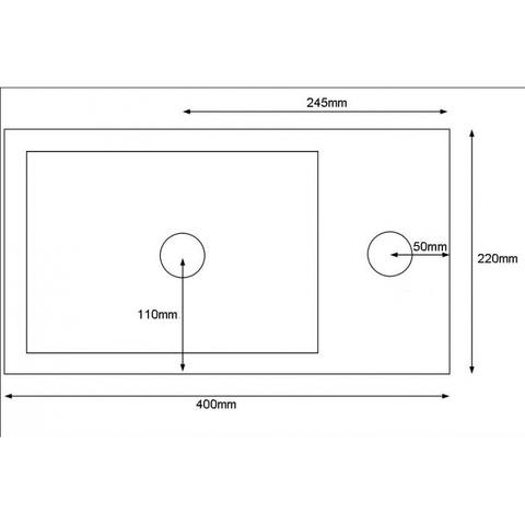 Blinq Saint paul fontein 40x22cm kraangat rechts wit