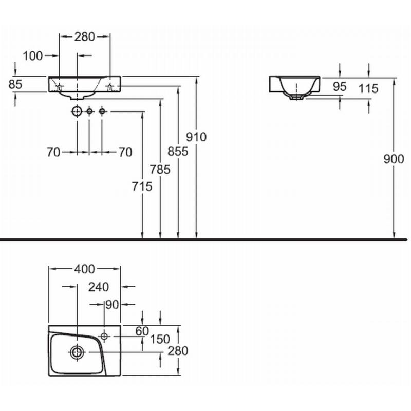Voorkeur Sphinx 420 fontein 40x28 cm kraangat rechts wit S8404100000 AX11