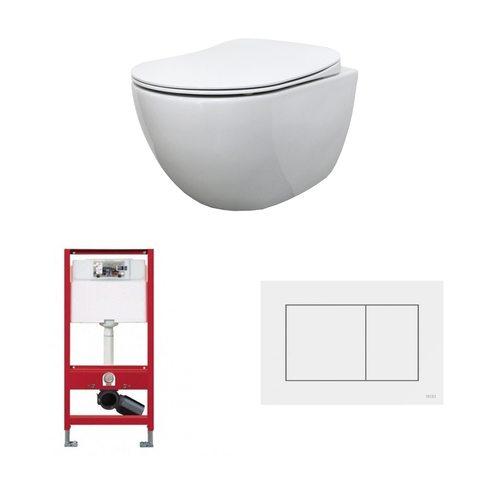 Bewonen Alento toiletset - hangtoilet Rimless glans wit - met Tece reservoir/bedieningsplaat - glans wit
