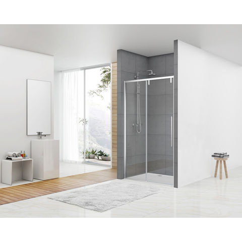 Van Rijn Products ST06300 Nisdeur met vast deel 140 x 200cm helder glas chroom