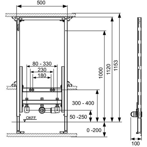 Teceprofil bidet inbouwframe voor hangbidetten - 112cm
