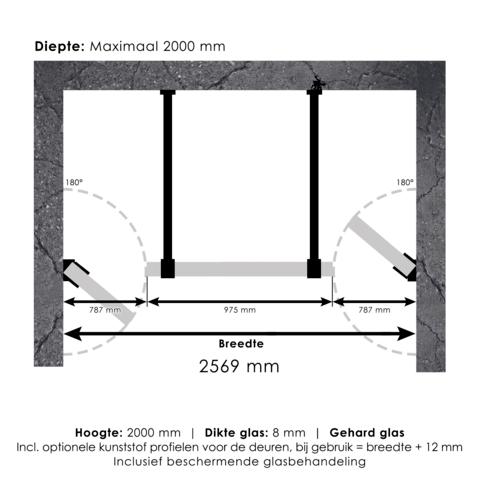 Bewonen Sean 4JC17 3-delige nisopstelling inloopwand met nisdeuren aaneengeschakeld 260cm (80/100/80) chroom
