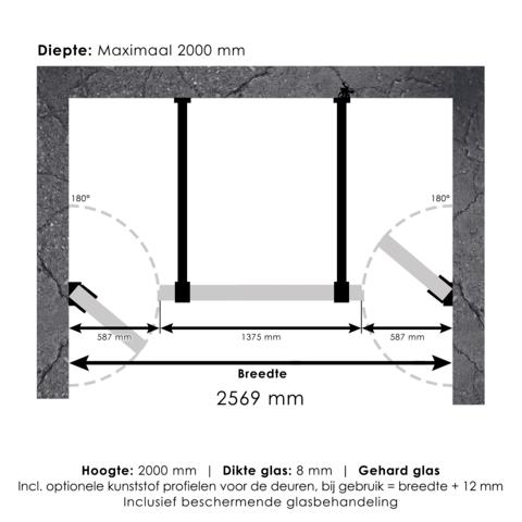 Bewonen Sean 4JC17 3-delige nisopstelling inloopwand met nisdeuren aaneengeschakeld 260cm (60/140/60) mat zwart