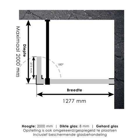 Bewonen Sean 4JC3 inloopdouche 130cm met draaibare zijwand 40 cm koper