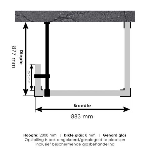 Bewonen Sean 4JC5 inloopdouche reversed met vaste zijwand 90 x 90 x 30 cm koper