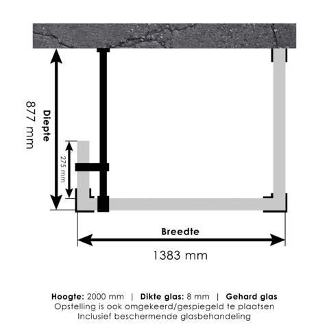 Bewonen Sean 4JC5 inloopdouche reversed met vaste zijwand 90 x 140 x 30 cm koper