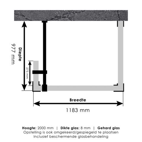 Bewonen Sean 4JC5 inloopdouche reversed met vaste zijwand 100 x 120 x 30 cm koper