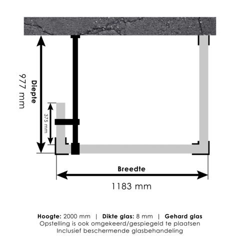 Bewonen Sean 4JC5 inloopdouche reversed met vaste zijwand 100 x 120 x 40 cm koper