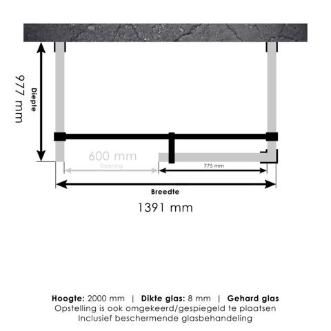 Bewonen Sean 4JC6 inloopdouche vrijstaand 140 x 100 cm koper