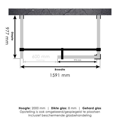 Bewonen Sean 4JC6 inloopdouche vrijstaand 160 x 100 cm koper