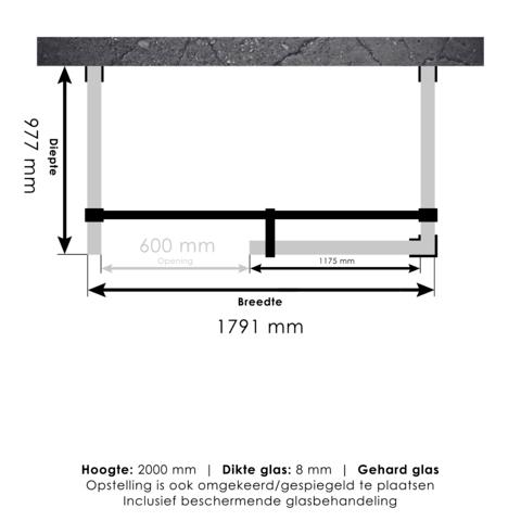 Bewonen Sean 4JC6 inloopdouche vrijstaand 180 x 100 cm koper