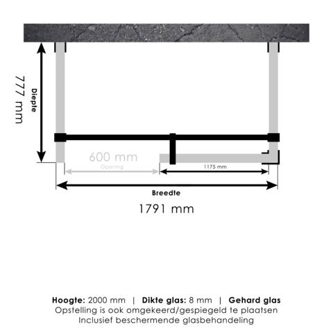 Bewonen Sean 4JC6 inloopdouche vrijstaand 180 x 80 cm koper