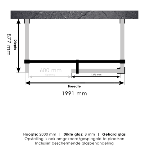Bewonen Sean 4JC6 inloopdouche vrijstaand 200 x 90 cm koper