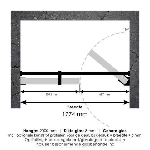 Bewonen Sean 4JC14 2-delige nisopstelling inloopwand met nisdeur muurkant 180cm (110/70) koper