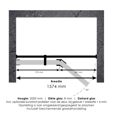 Bewonen Sean 4JC15 2-delige nisopstelling inloopwand met nisdeur aaneengeschakeld 160cm (100/60) koper