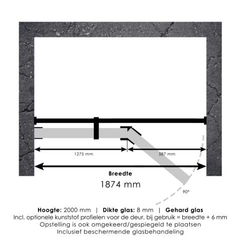 Bewonen Sean 4JC15 2-delige nisopstelling inloopwand met nisdeur aaneengeschakeld 190cm (130/60) koper