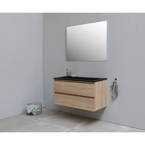 Bewonen Luuk badmeubel - 100cm - acryl wastafel Slade zwart - zonder kraangat - eiken - met spiegel - bouwpakket