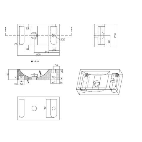 Wiesbaden Anna fonteinmeubel - hardsteen rechts - houtnerf grijs